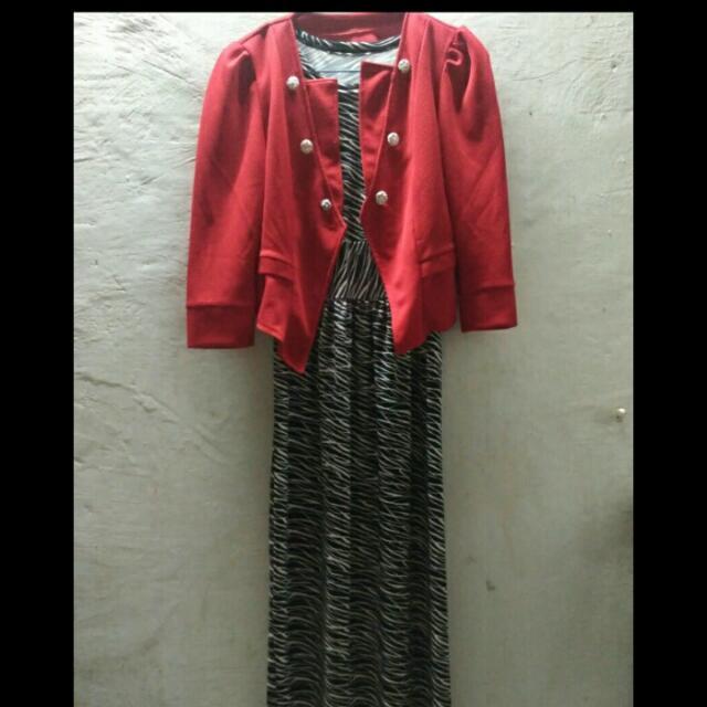 Gamis (Spandek) + BLazer Merah
