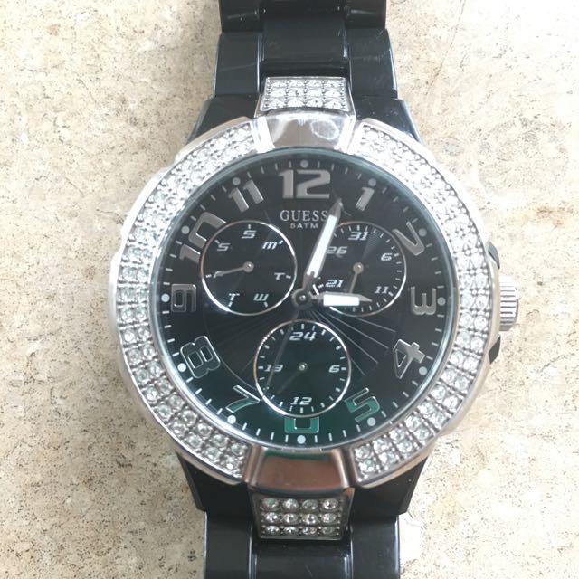 Black Guess Prism Watch