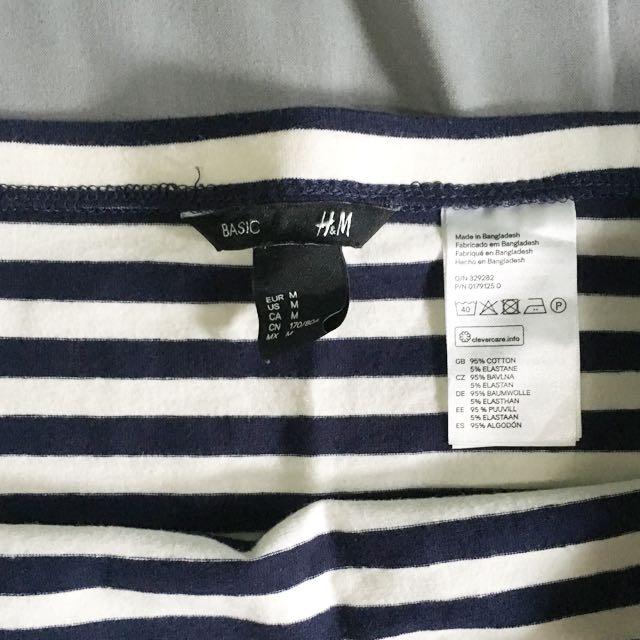 H&M / HnM Basic striped jersey skirt