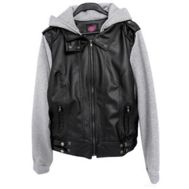 Hooded Leather Jacket with Cotton Sleeves