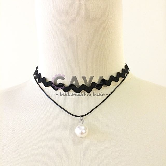 Kalung Choker Neck Chocker Necklace Double Line with Pearl Mutiara