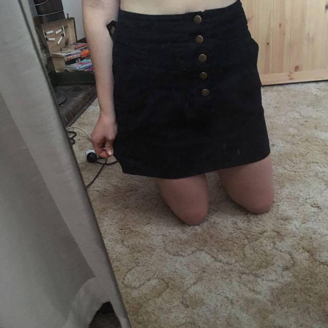 Navy Button Up Skirt