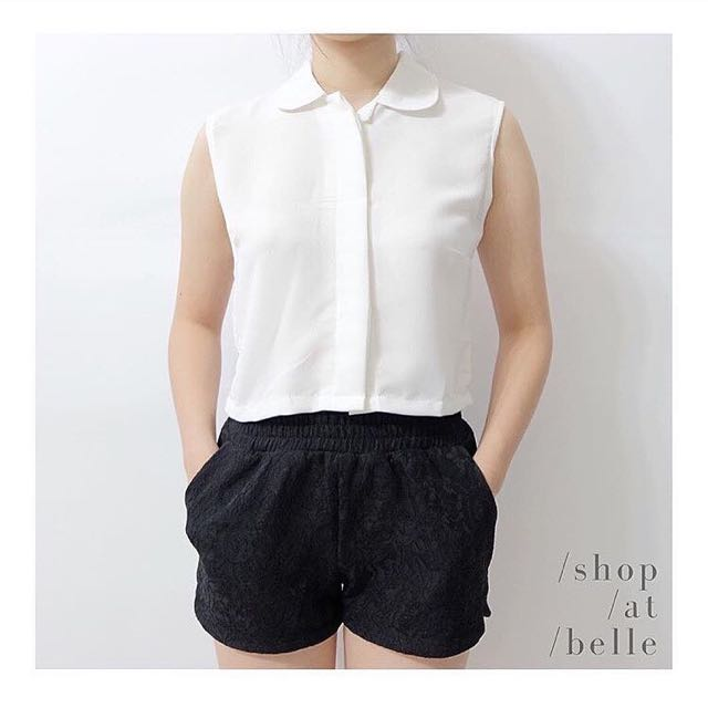 [NEW] Shop At Belle - White Sleeveless Top