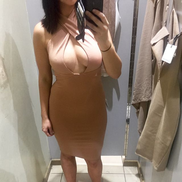 Nude Dress Beige Cross Neck