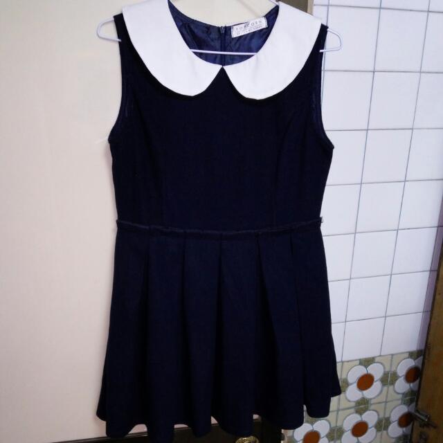 POPCORN深藍無袖洋裝