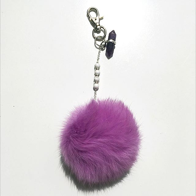 Purple Fluffy Keychain