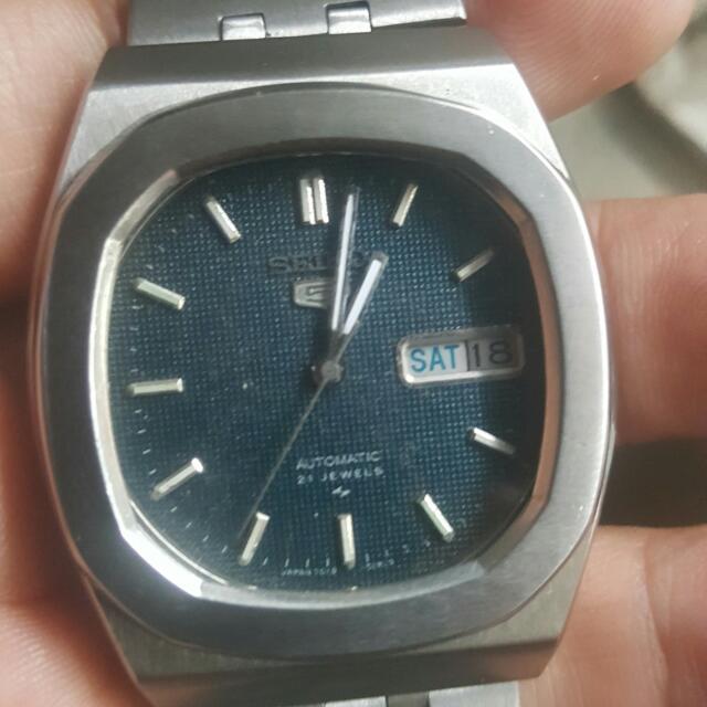 """Rare Seiko 5 Vintage 7019 7250 """"Nautilus"""" Blue Face"""
