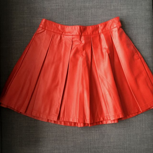 Red Pleather Skirt