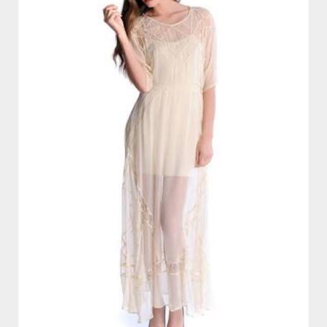 Shakuhachi Panelled Lace Chiffon Dress