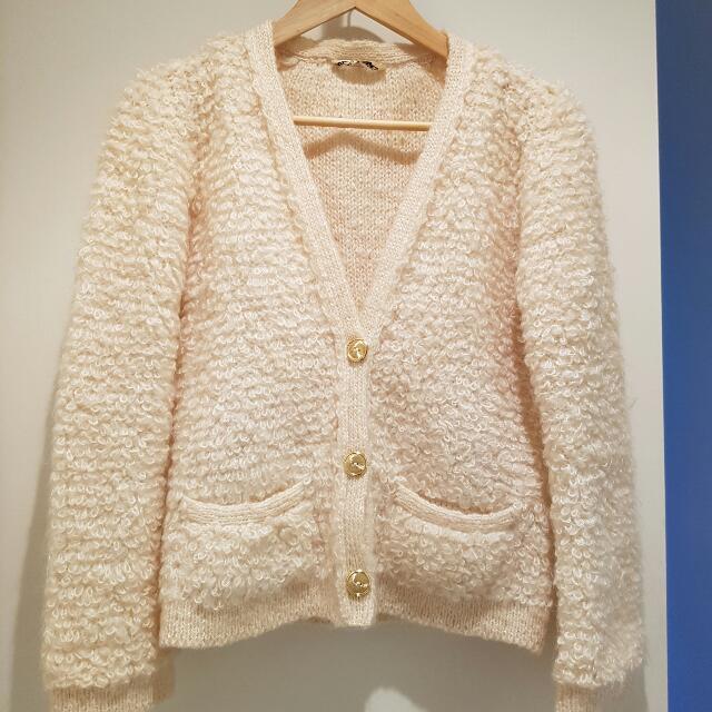 Sonia Rykiel Boucle Wool Cardigan Gold Buttons 2 Pockets Designer Vintage