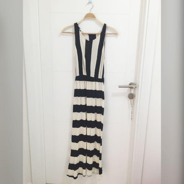 Stripe dress (Hitam- Broken White)