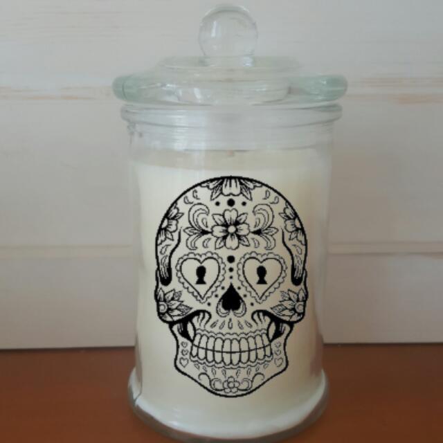 Sugar Skull Flower Candle