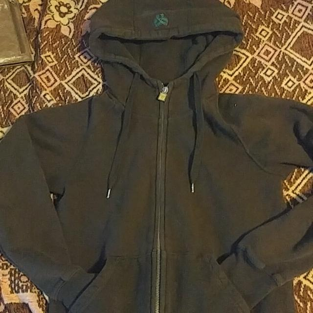 TNA Brown Zip up Hoodie With Forest Green Emblem