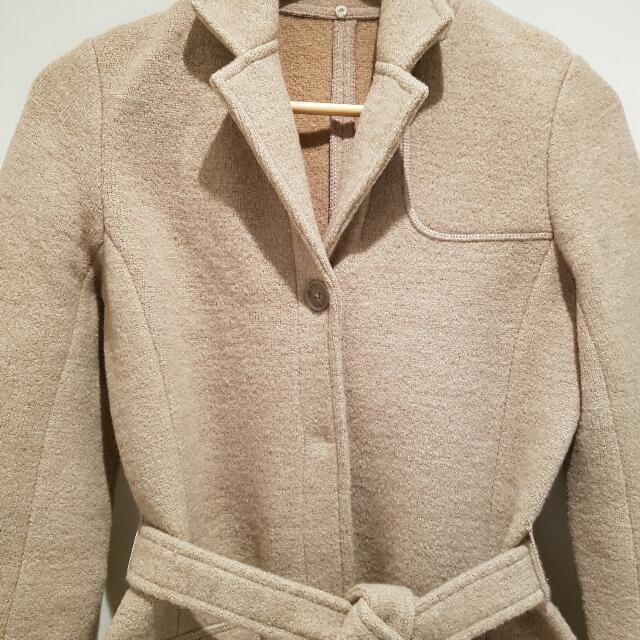 ToAt Beige Pure Wool Jacket 2 Pockets Tie Waist Trench Coat