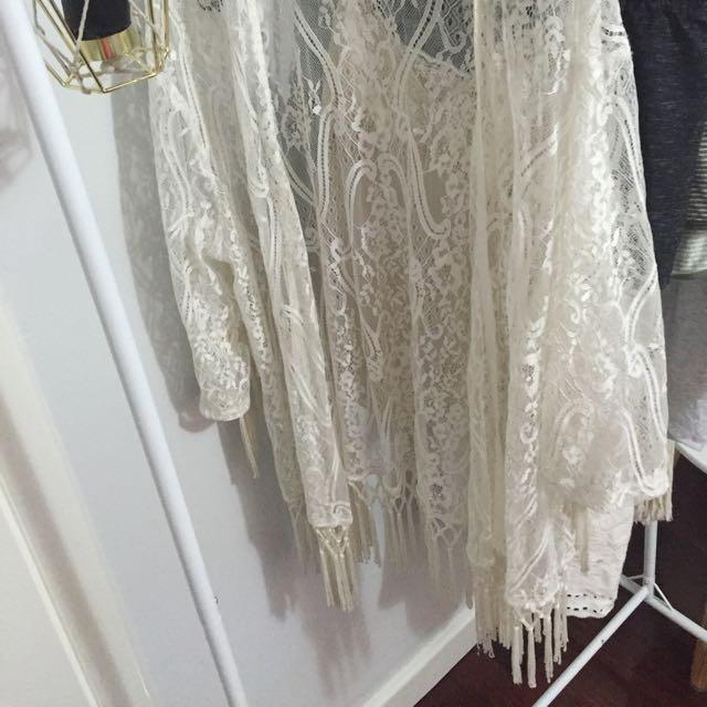 White Lace Boho Throw Over