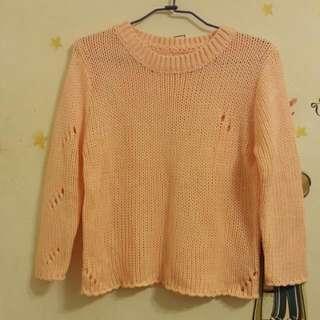 🚚 針織挖洞上衣 橘色/白色