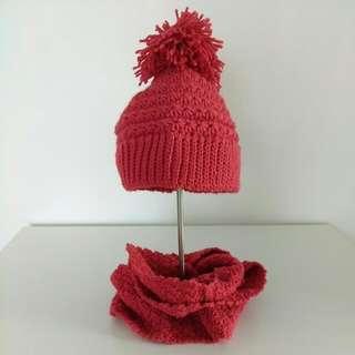 Handmade Infinity Scarf And Pom-pom Hat