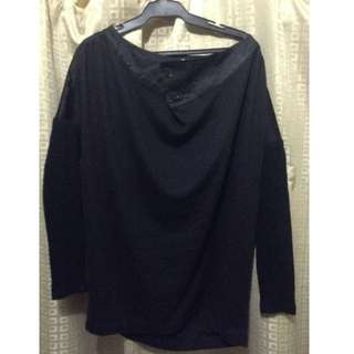 BLACK blouse / top with wool sleeves