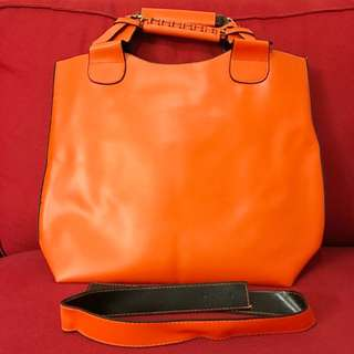 Clearance ---Handbag Short Handle Orange 32cm