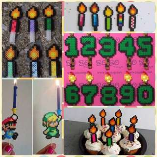 MTO Pixel Art Cake Toppers And Eternity Candkles