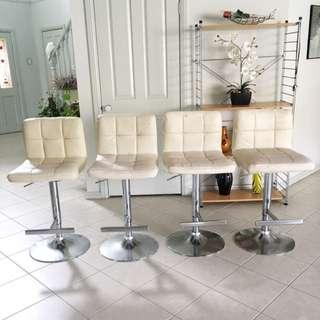 4 X White Cushioned Chairs