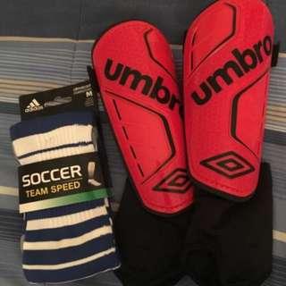 Umbro Shin Guards + Adidas Socks