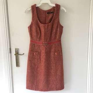 Pormans Plead Orange And Beige Dress