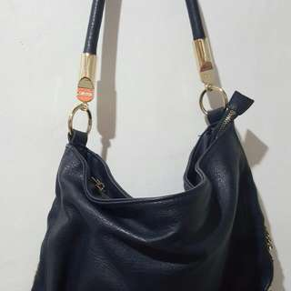 Repriced : Navy Blue Side Buckle Slouchy Shoulder Bag 100 % Authentic