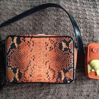 Synthetic Snakeskin Sling Bag