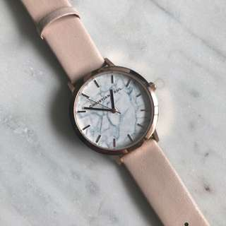 Christian Paul Marble And Rose Gold With Nude Leather Band Watch