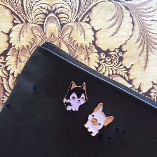 Husky French Bulldog Enamel Pins