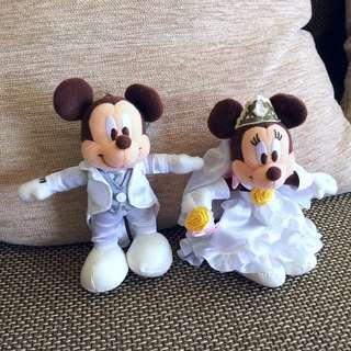 日本迪士尼限定米奇/米妮 婚紗娃娃吊飾/掛飾