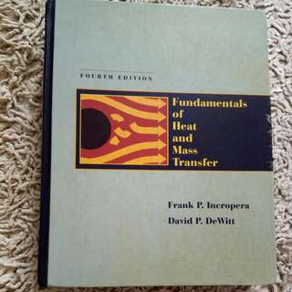 Fundamentals Of Heat And Mass Transfer By Frank Incropea And David Dewitt