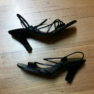 Shoo Biz Strappy Black Heels