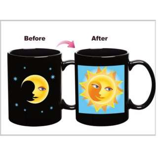 🚚 創意魔術馬克杯 變色杯 變臉杯 月亮/太陽 開心/難過 馬克杯 水杯
