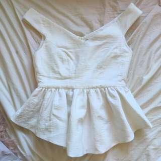 Cameo Peplum White Top Size L