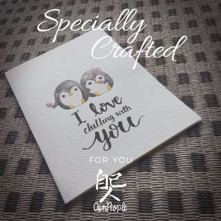 Valentine's Day Card - Penguins - I Love Chilling With You