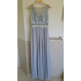 Silver/Grey Ball Dress With Transparent Back