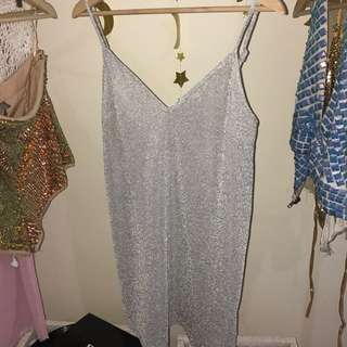 Silver Sparkly Dress Sheer Festival