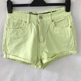 Factorie - Fluro Yellow High Waisted Denim Shorts