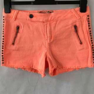 Gum - Fluro Peach Denim Shorts