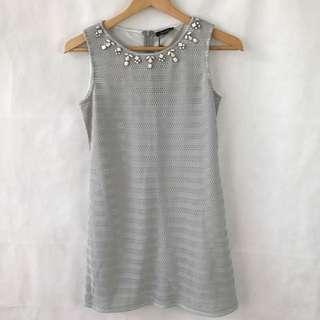 Zalora - Striped Shift With Embellished Neckline Dress