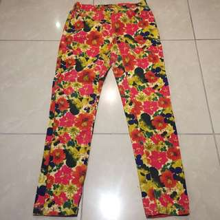 Floral Denim Leggings/ Pants