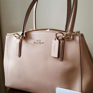 GENUINE COACH SMALL CHRISTIE CARRYALL IN CROSSGRAIN LEATHER