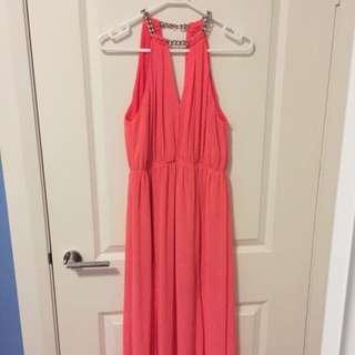 Fluro Pink/Orange Maxi Dress