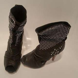 Black Studded Boots Size 5 (36). Bought In Europe