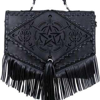 """""""Boho Witch Bag"""" gothic satchel with fringe, laser cut pentagram, alchemical symbols."""