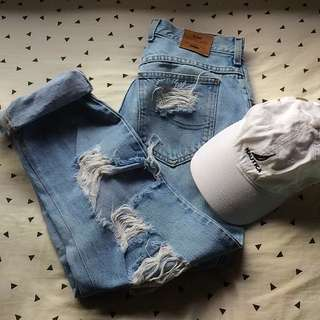 Authentic Lee Denim Boyfriend Ripped Jeans