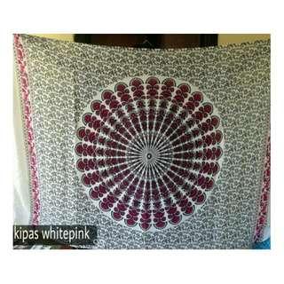 Mandala Tapestry White Pink