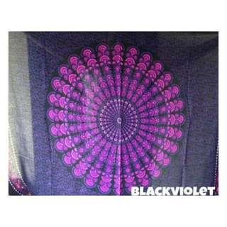 Mandala Tapestry Black Violet